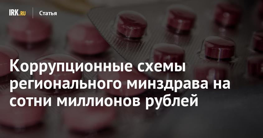 Коррупционные схемы регионального минздрава на сотни миллионов рублей